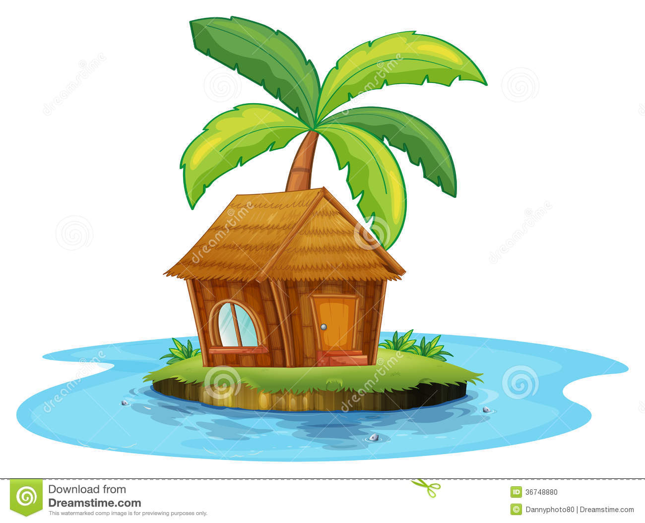 Illustration Of An Island With A Nipa Hut And A Palm Tree On A White