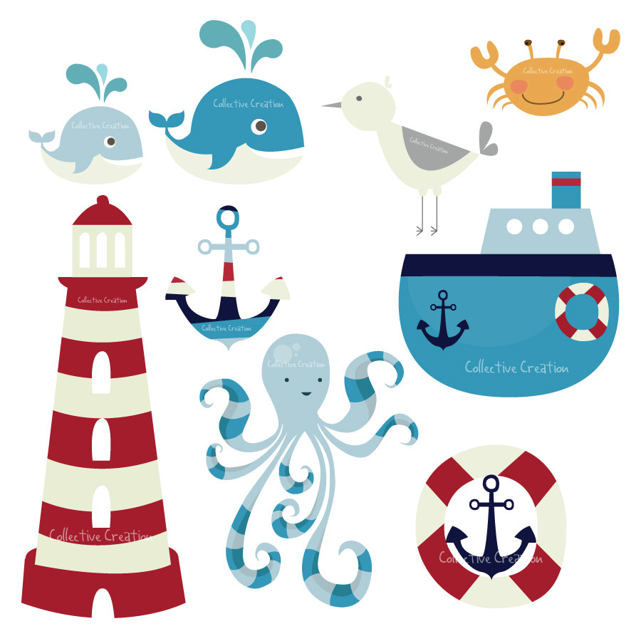Nautical Themed Digital Clip Art Set By Collectivecreation