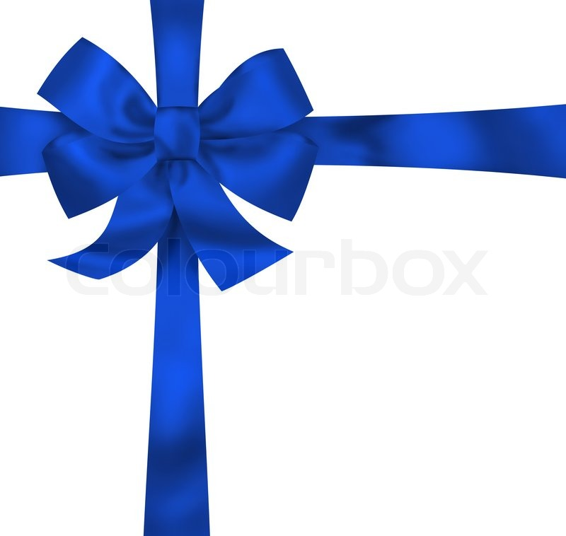 Stock Image Of  Gift Blue Ribbon And Bow Isolated On White Background
