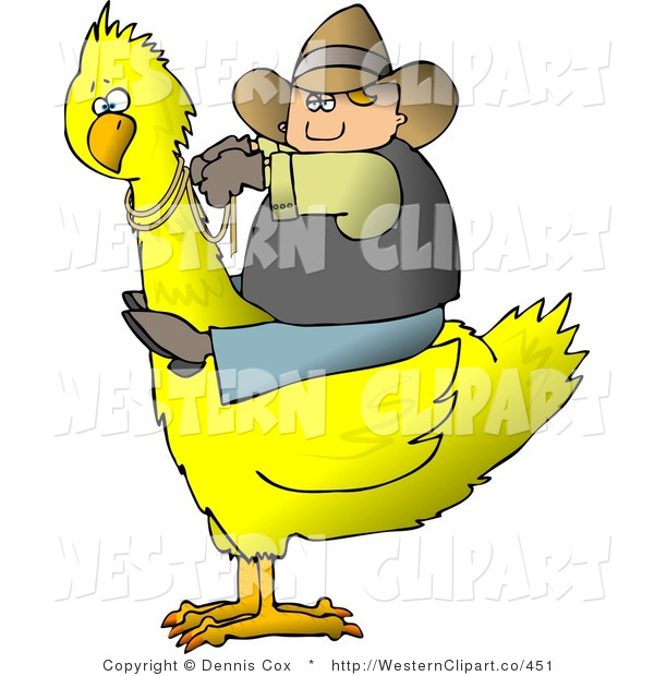 Western Clip Art Of A Chubby Cowboy Riding A Big Yellow Bird By Djart