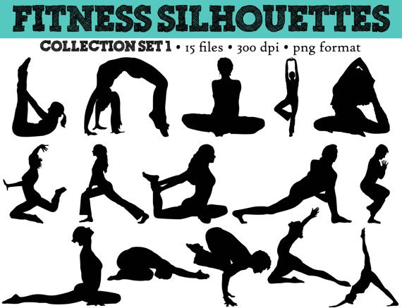 15 Workout Silhouette    Fitness    Gym Clip Art    Yoga Silhouettes