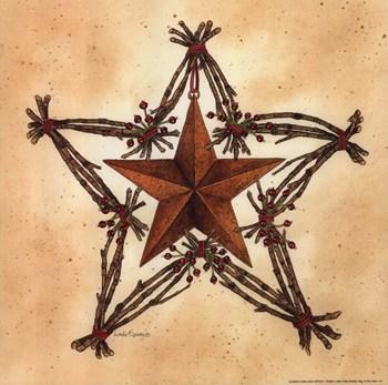 Barn Star With Star Wreath Fine Art Print