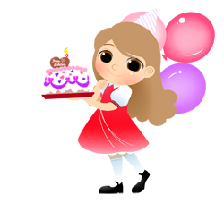 Birthday Girl With Cake And Candle Clip Art