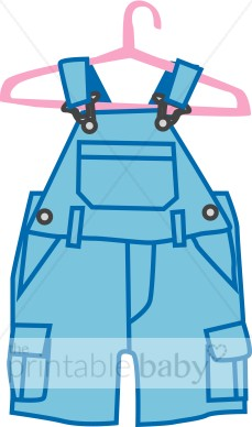 Blue Overalls On Hanger Clipart   Baby Clothing Clipart