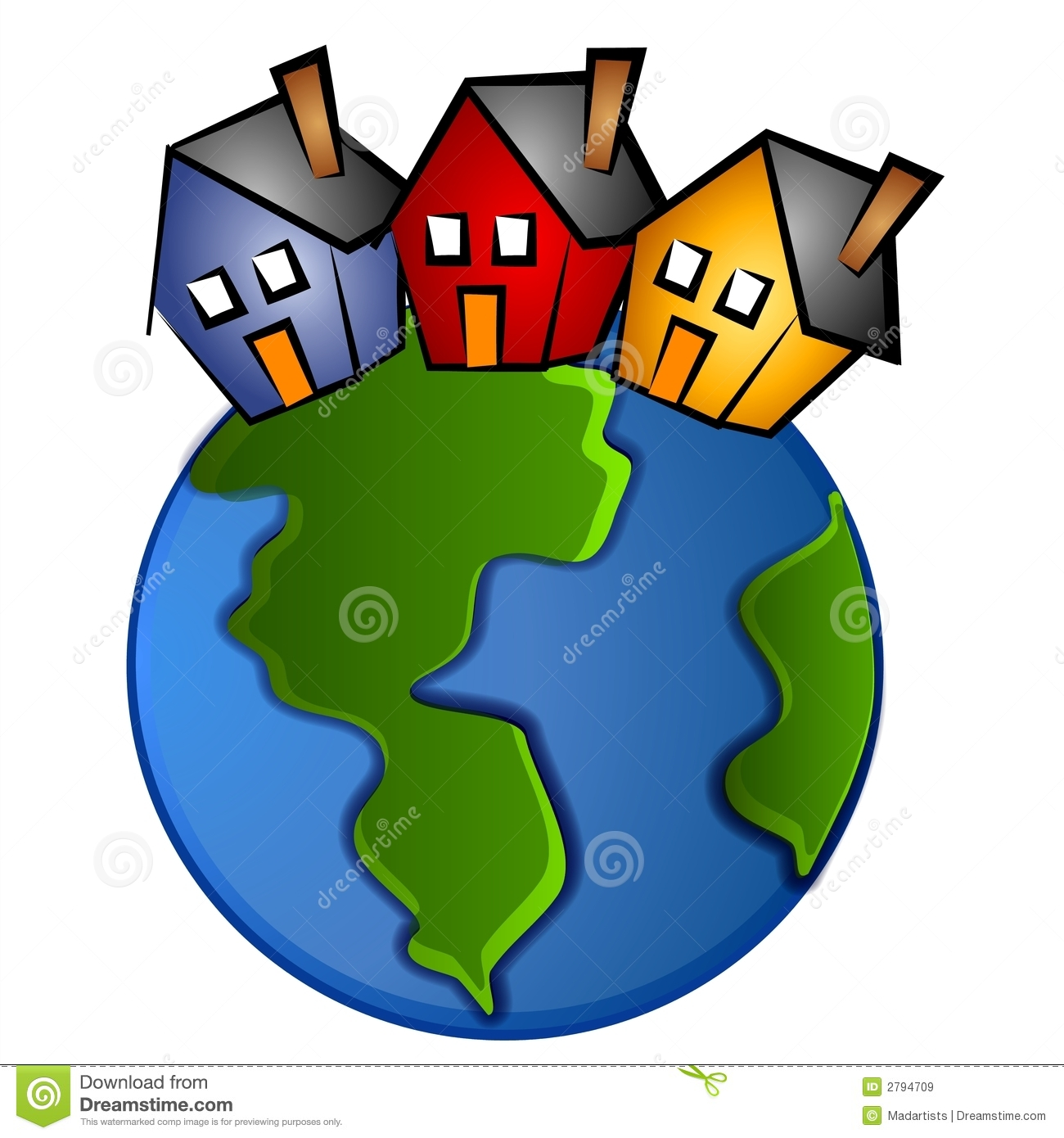 Clip Art Illustration Of The Earth With 3 Houses On Top