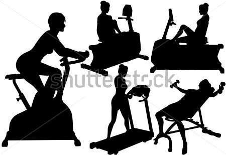 Fitness Silhouette Women In Exercise Gym Work Out On Treadmill Bike
