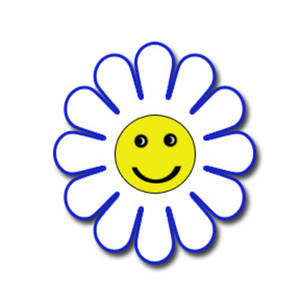 Free Clipart Image Of A White And Blue Happy Face Flower  The Flower