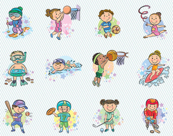 Illustration  Swimming Basket Ball Football   Sports Clipart 007