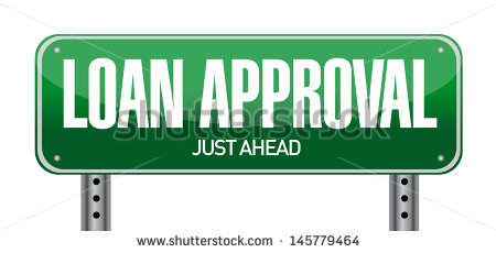 Loan Approval Road Sign Illustration Over A White Background   Stock
