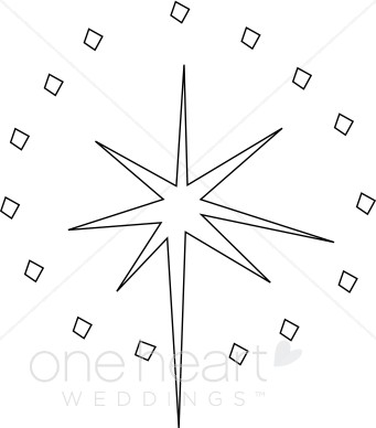 Star With Diamond Accent Line Art