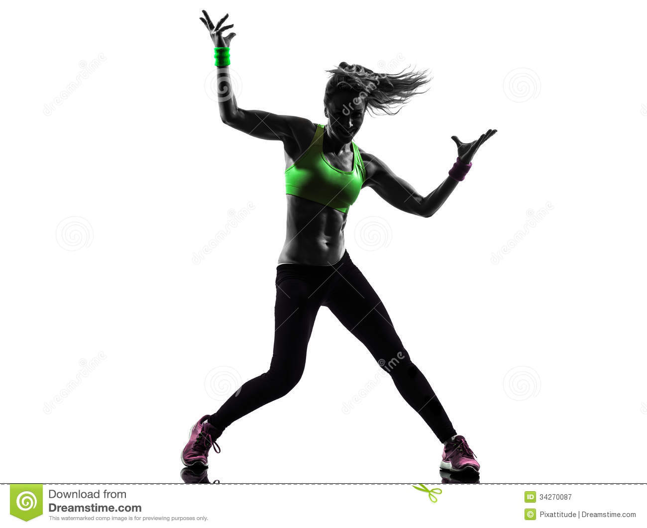 Woman Exercising Fitness Zumba Dancing Silhouette Royalty Free Stock