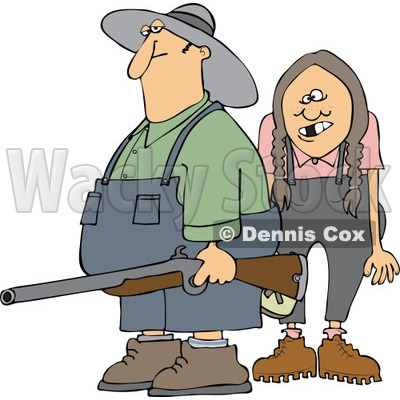 Cartoon Of A Redneck Hillbilly Man And Woman With A Shotgun   Royalty
