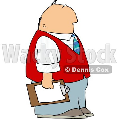 Caucasian Male Store Manager Holding A Clipboard Clipart   Dennis Cox