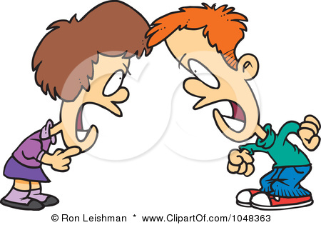 Clip Art Illustration Of A Cartoon Boy And Girl Having A Yelling Match