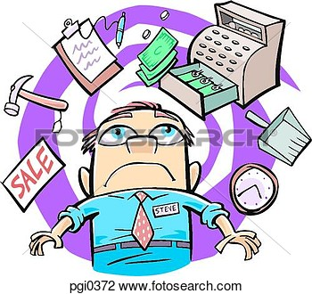 Clip Art Of Drawing Of A Busy Store Manager Pgi0372   Search Clipart