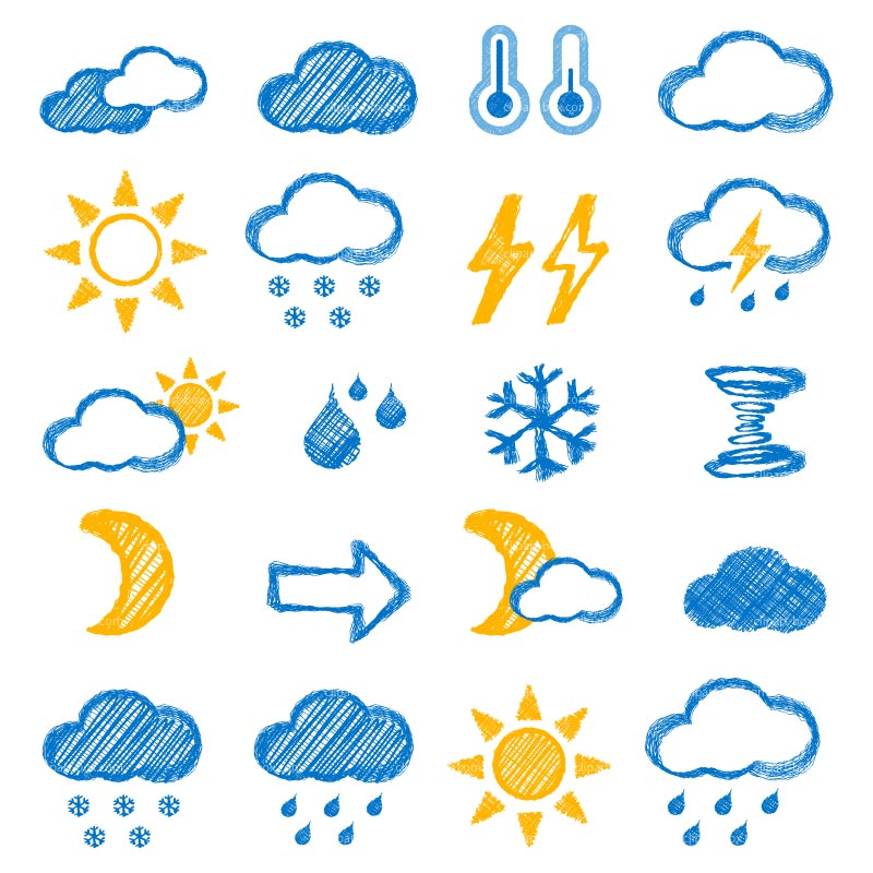 Clipart Sketch Weather Icons   Royalty Free Vector Design