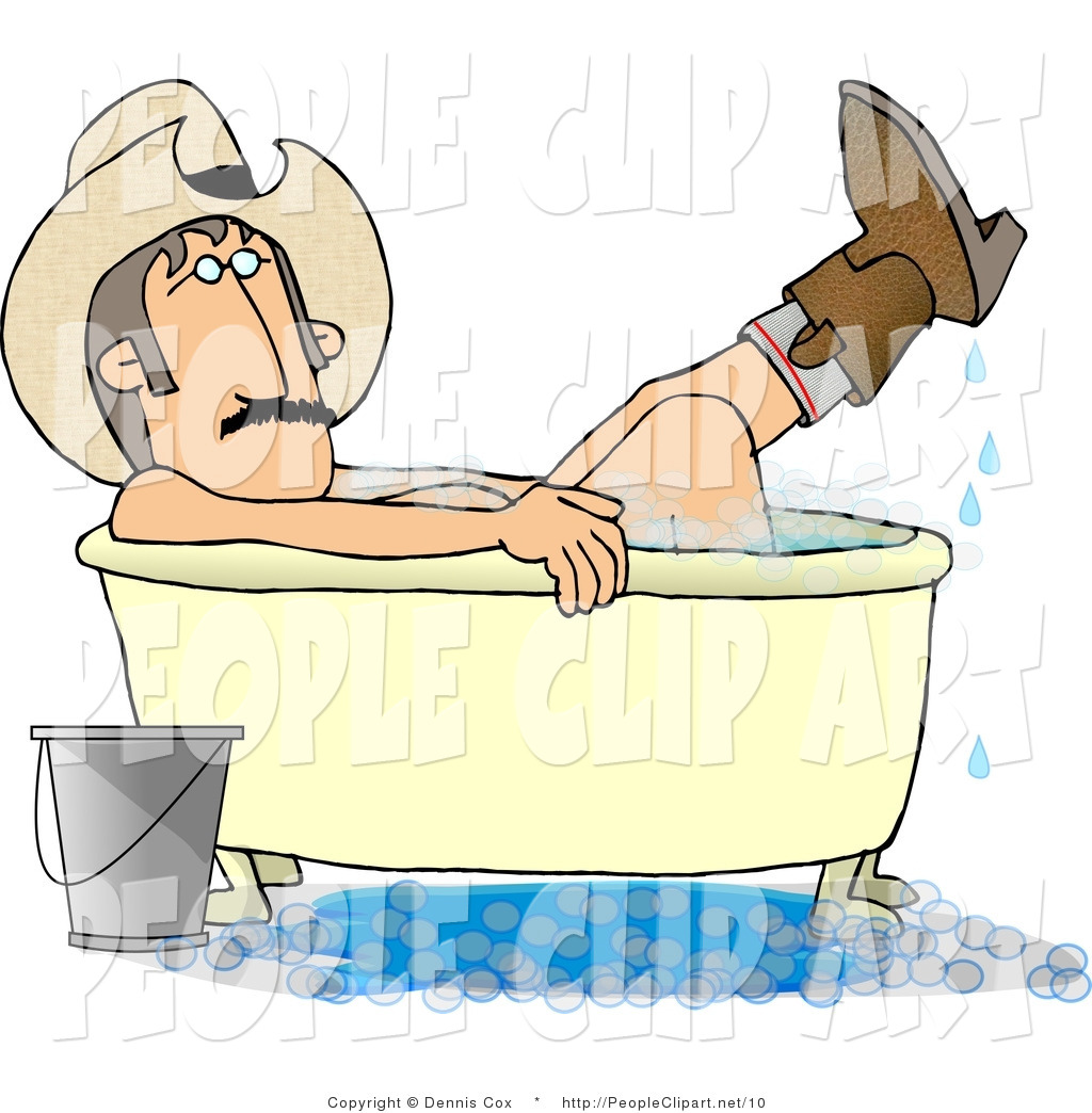 Larger Preview  Clip Art Of A Redneck Cowboy Washing His Boots In The
