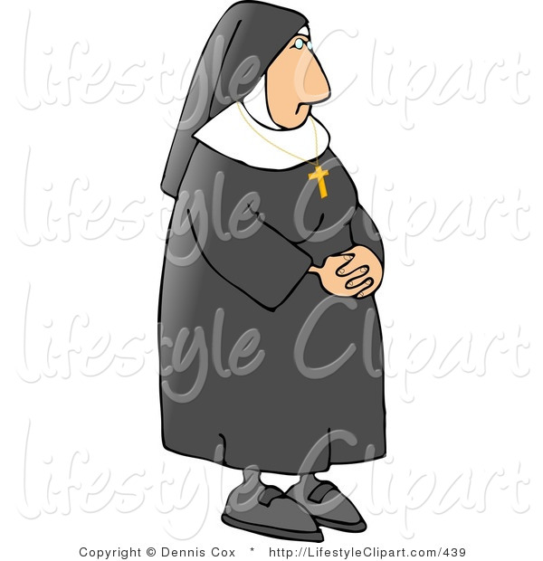 Lifestyle Clipart Of A Catholic Nun Wearing A Gold Cross Around Her