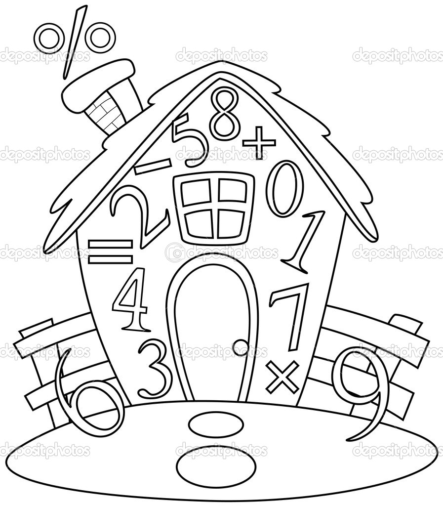 Line Drawing Numbers : Clip art black and white math signs clipart suggest