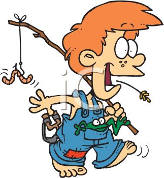 Overalls Going Fishing In The Country   Royalty Free Clipart Picture