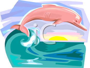 Pink Dolphin In The Ocean Waves   Royalty Free Clip Art Image