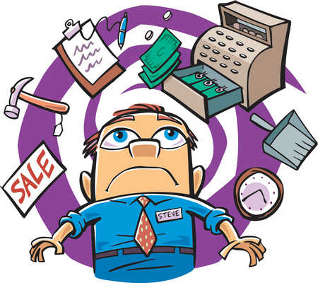 Stock Illustration   Drawing Of A Busy Store Manager