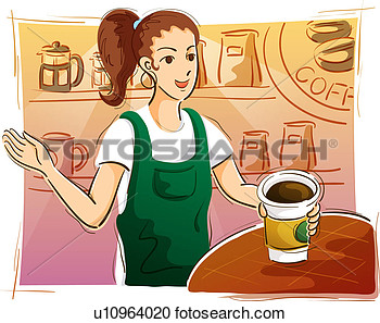 Stock Illustration   Girl In Coffee Shop  Fotosearch   Search Clipart