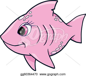 Stock Illustration   Pink Girl Shark Ocean Summer Vector  Clipart