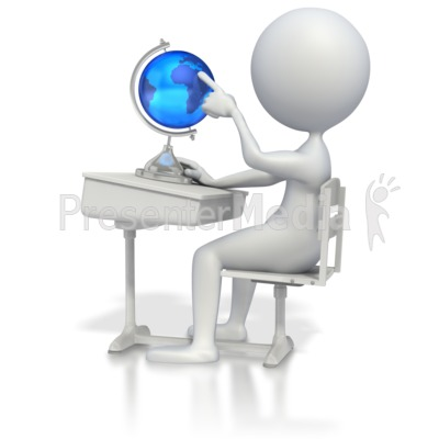Student At Desk With Globe   Education And School   Great Clipart For