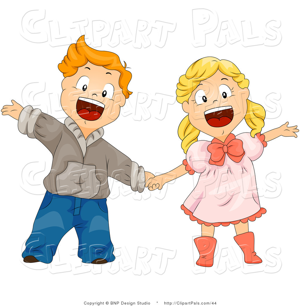 Studio Clipart Pal Clipart Of A Boy And Girl Shouting And Holding