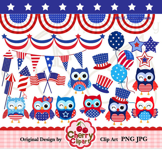 4th Of July Cute Owls Digital Clipart Set For Personal And Commercial