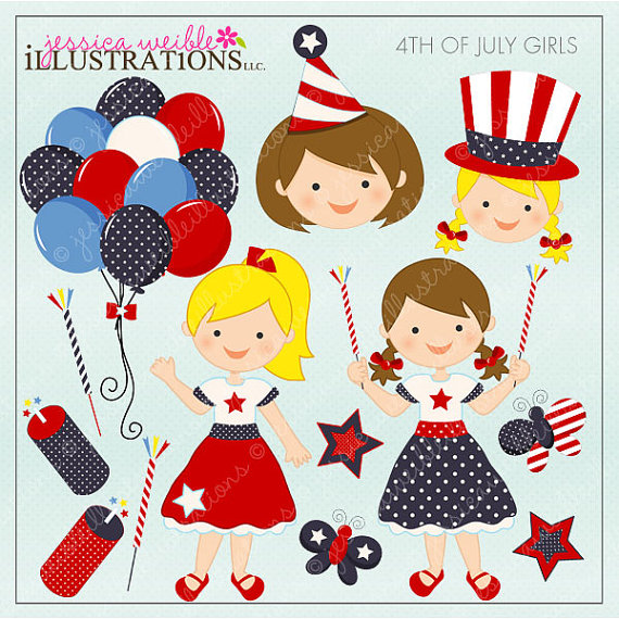 4th Of July Girls Cute Digital Clipart For Invitations Card Design