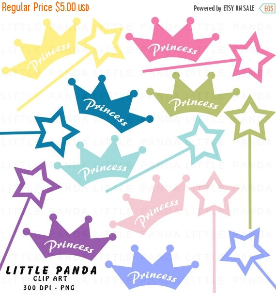 70  Off Sale Princess Crowns And Wands Digital Clip Art   Personal And