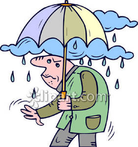An Old Man In The Rain   Royalty Free Clipart Picture