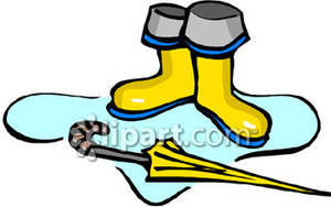 An Umbrella And A Pair Of Rain Boots   Royalty Free Clipart Picture
