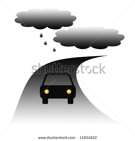 Car Driving On A Winding Road In The Rain Illustration   11934022