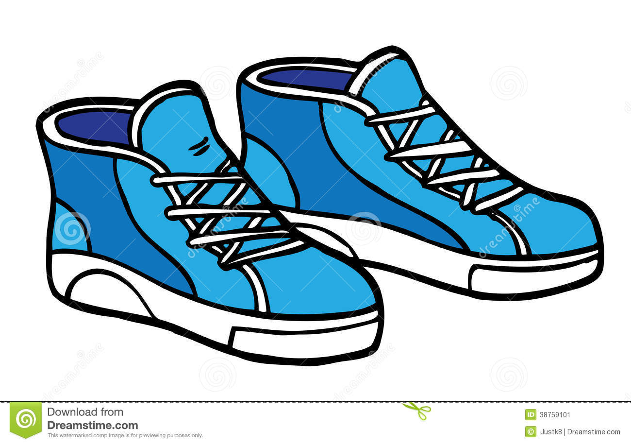 Cartoon Illustration Of Blue And White Sneakers  These Can Be Used As