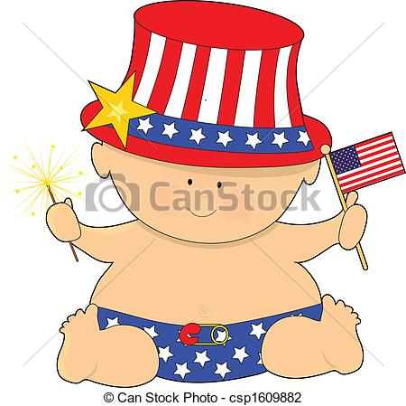 Clip Art Of Baby Fourth Of July   A Cute Baby Holding The American