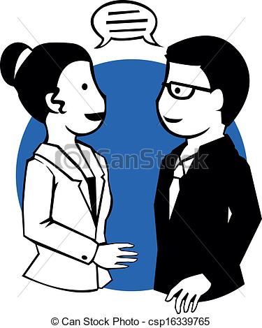 Clip Art Vector Of Sharing Man And A Woman Information Clipart
