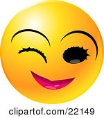 Clipart Illustration Of A Yellow Emoticon Face With Pink Lips Winking