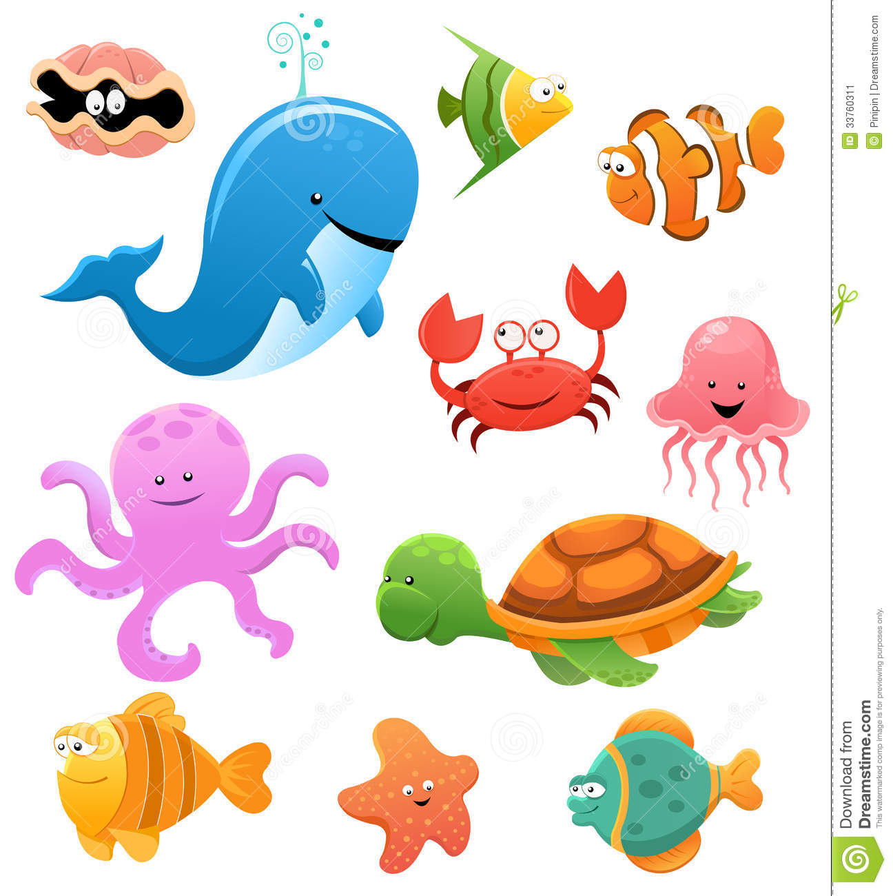 Collection Of Cute Little Cartoon Sea Animals