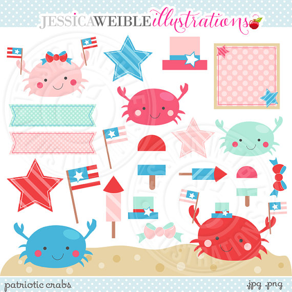 Crab Cute Digital Clipart   Commercial Use Ok   4th Of July Clipart