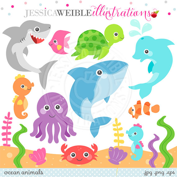 Cute Clipart Ocean Animal Graphics Under The Sea Dolphin Clipart