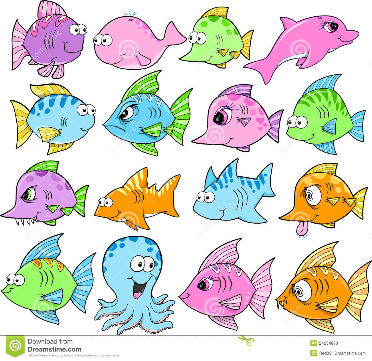 Cute Sea Animal Clipart Assorted Cute Sea Creatures In