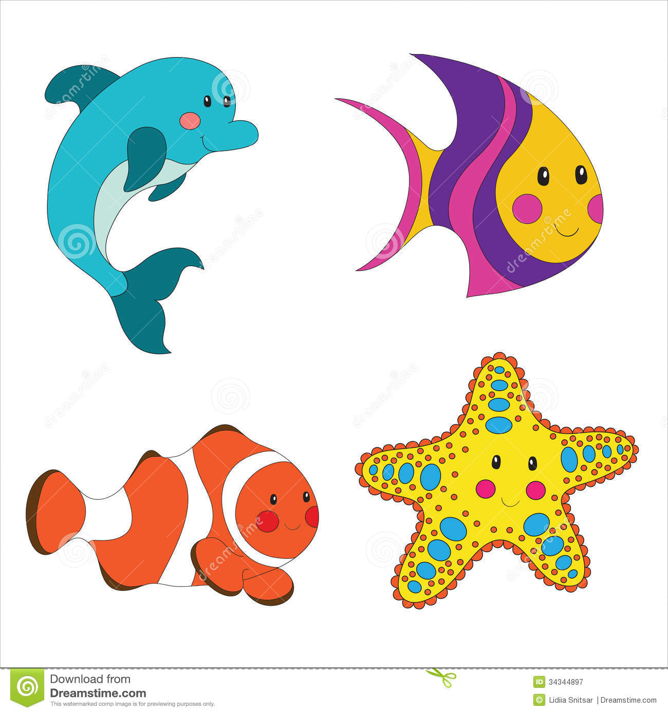 Cute Sea Animal Clipart Set Of Cartoon Sea Creatures
