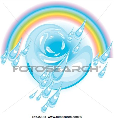 Driving Rain And Rainbow View Large Clip Art Graphic