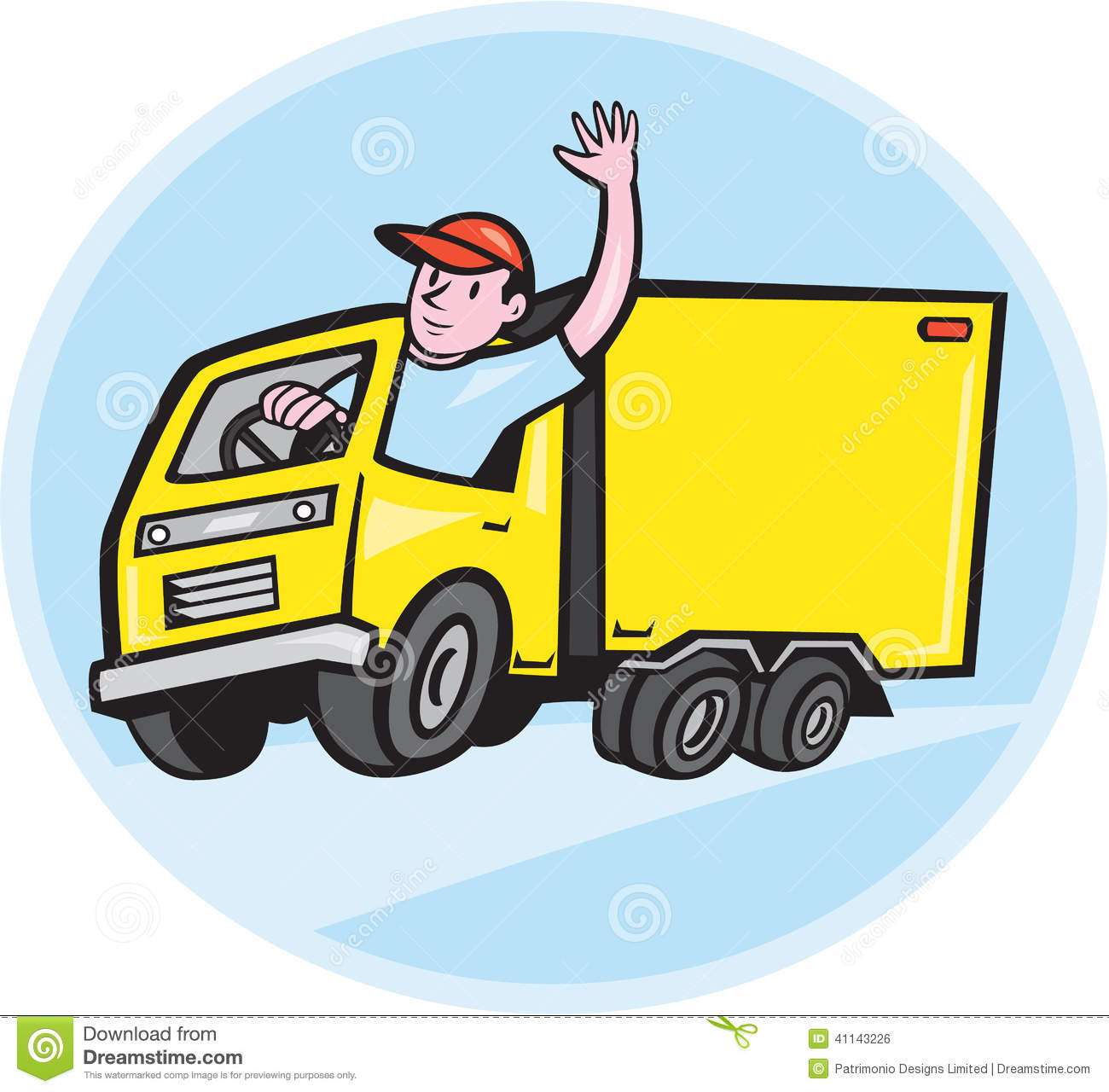 Illustration Of A Delivery Truck Lorry With Driver Waving Done In