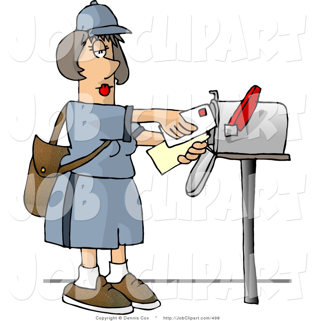 Job Clip Art Of A Female Mail Carrier Delivering Letters Into A