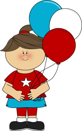 July 4th Clip Art Image   Girl Celebrating The Fourth Of July