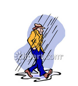Man Walking In The Rain Royalty Free Clipart Picture
